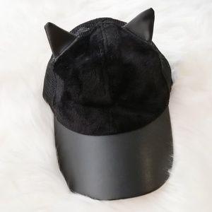 Cat Ears Hat Black kitty faux leather fur Snapback